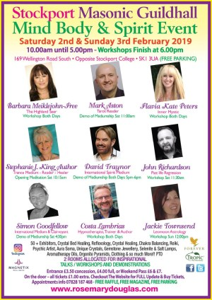 Stockport Masonic Guildhall Mind Body Spirit Event 2nd / 3rd February 2019 With 30 + FREE WORKSHOPS