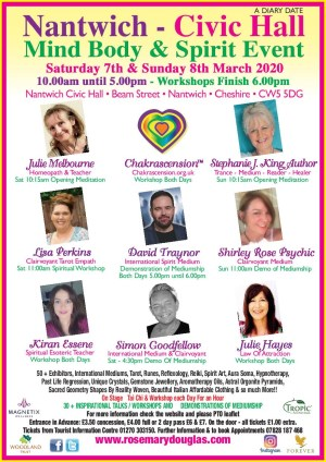 Nantwich Civic Hall Mind Body Spirit Event 7th & 8th March 2020