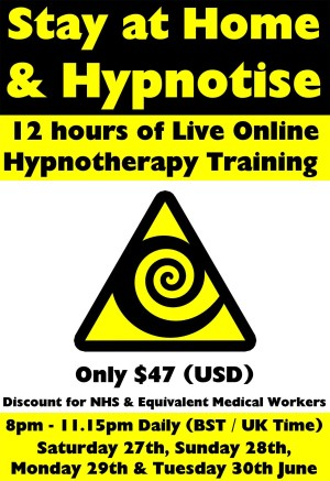 Stay At Home & Hypnotize - 4 Day Hypnotherapy & NLP Hypnosis Diploma Course